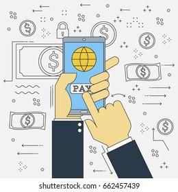 Doodle design vector flat line Financial technology of fintech businessman hand with mobile phone online payment . Vector illustration concept design start up business.