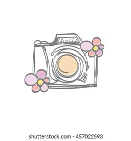 doodle digital camera illustration with two flowers