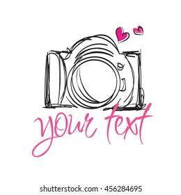 doodle digital camera illustration, whimsical camera design