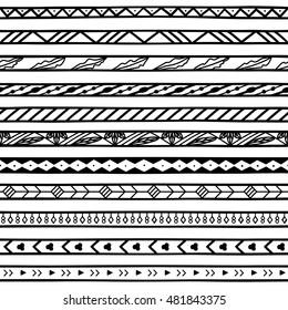 vector illustration geometric border patterns black stock vector