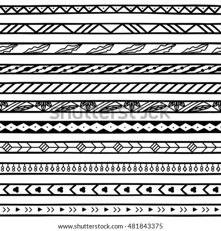 Doodle Dividers Borders For Invitations Cards Flash Tattoo Bohemian Style May