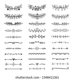 Doodle dividers. Hand drawn line borders and laurels, ornamental decorative frame, nature floral arrow sketch. Vector divider set