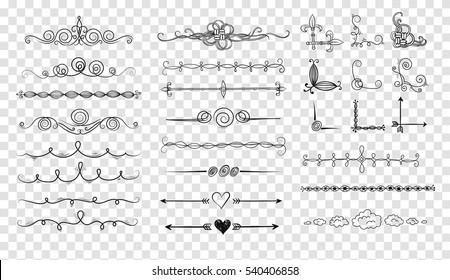 Doodle dividers. Vector illustration.