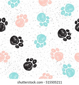 Doodle dog paw seamless background. Black, blue, pink paw track. Abstract dog paw seamless pattern for card, invitation, poster, banner, placard, diary, album, sketch book cover etc. Domestic animal
