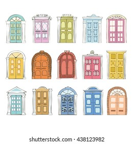 Doodle Doors vector set. Hand drawn Double Doors in cartoon style. Antique and Old doors vector illustration. Set of  Doors windows isolated on white background.