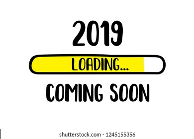 Doodle Download bar,2019 coming soon loading text, vector illustration