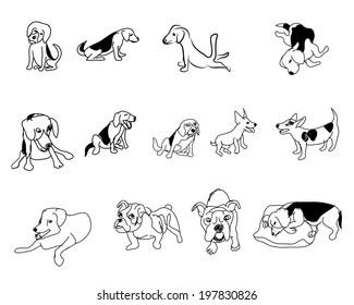 Doodle drawing of dog in many pose on white