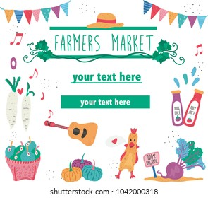 Doodle drawing farmers market poster template, text surrounded with organic fruits, live music, and vegetables on white background, dotted texture flat style, illustration, vector