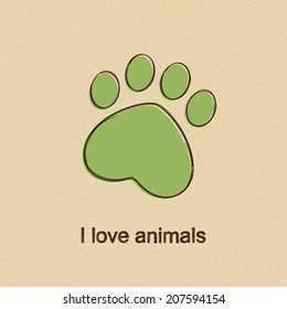 Doodle drawing of heart shaped animal paw print over rough brown paper background