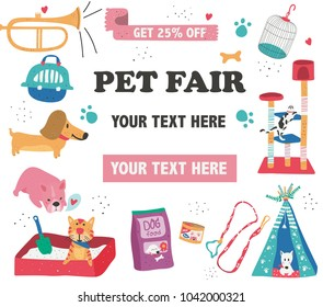 Doodle drawing pet fair poster template, text surrounded with pet care, supplies, and cute animals on white background, dotted texture flat style, illustration, vector