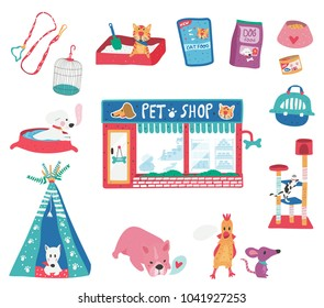 Doodle drawing pet shop with cat, puppy, pet care supplies and accessories set, dotted texture flat style, all isolated on white background, illustration, vector