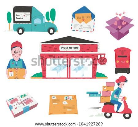 Doodle Drawing Post Office Building Postman Stock Vektorgrafik