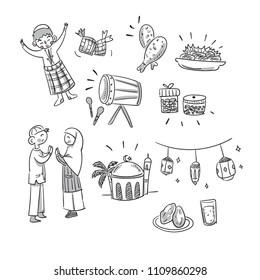 Doodle Drawing of Ramadhan