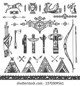 Doodle Drawings of Tribal Symbols and Artifacts