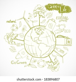 Doodle ecology and energy concept with tree leaf flower around the globe decorative elements vector illustration