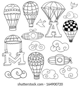 Doodle Elements: birds, clouds, parachutes lifting letters A and M, set of hot air balloons.