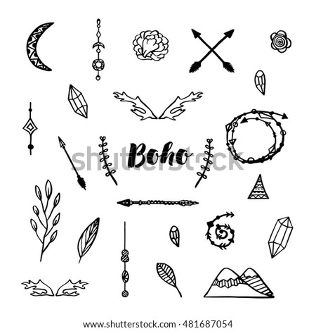 ddd25360afd Doodle Elements Bohemian Style Making Custom Stock Vector (Royalty ...