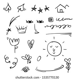 doodle emphasis elements, black on white background. Vector symbols and logo. Arrow, heart, love, hand made, homemade, star, leaf, sun, light, flower, daisy, graffitti crown, king, queen cartoon style