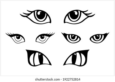 Doodle eye icon isolated on white. Vector stock illustration. EPS 10