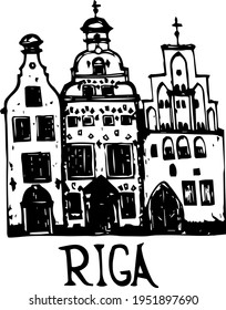 doodle facade Riga Buildings facade front view. European homes of the old city buildings simple monochromatic line art sketch for a logo icon