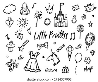 Doodle fairy princess line sketch set. Collection of black hand drawn outline symbols and elements. Cute magic crown, star,  unicorn, castle, heart, diamond, candies for little baby girl. Design kit.