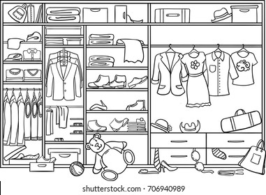 Doodle family wardrobe mess concept with scattered male female child clothing footwear accessories and toys vector illustration