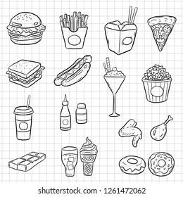 doodle fast food, set vector design