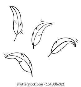 doodle feather wing illustration with handdrawn doodle style