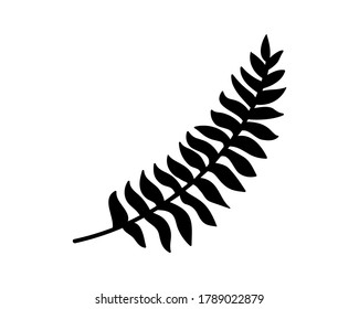 Doodle fern icon isolated on white. Stencil plant. Leaf vector stock illustration. EPS 10