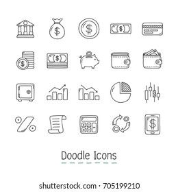 Doodle Financial Icons. Hand Drawn Icon Set.