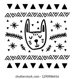 Doodle finnish folk art pattern - Scandinavian, Nordic style, black and white
