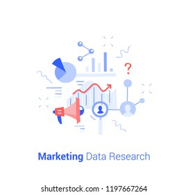 Doodle flat design icon vector illustration concept. Marketing data research.