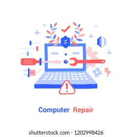 Doodle flat design icon vector illustration concept. Setup and Computer Repair.
