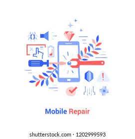 Doodle flat design icon vector illustration concept. Tuning and repairing mobile