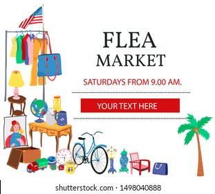Doodle flea market poster with the text and second hand clothes, bike, toys, and furnitures, all in flat cartoon design, illustration, vector