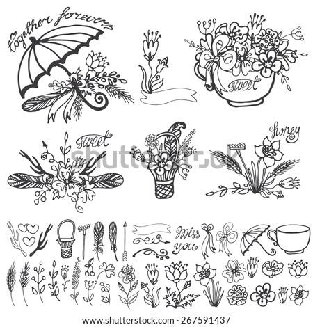 Doodle Floral Group Set Outline Hand Sketch Image