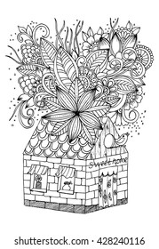 Doodle Floral Image In Black And White Page For Adult Coloring Book