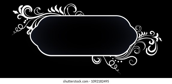 Doodle floral ornamental blank frame in white isolated over black. Vector background illustration.