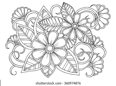 Doodle floral pattern in black and white. Page for coloring book. Zendoodle drawing. Flower carpet.