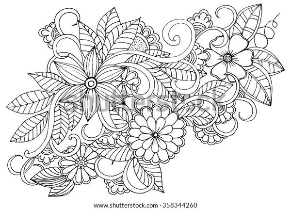 Siyah Ve Beyaz Doodle Cicek Deseni Stok Vektor Telifsiz 358344260