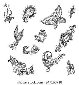 Doodle floral set