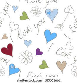Doodle flower, hearts and I love you text on a white background. Vector illustration. Vector abstract seamless heart pattern in purple and red colors.