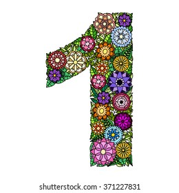 Doodle flower number one. Floral element of colorful alphabet made from flowers.