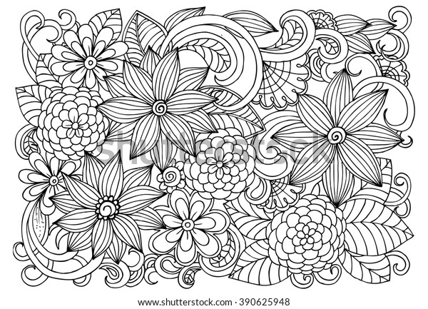 Doodle Flower Pattern Beautiful Floral Drawing Stock ...