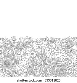 Doodle flower pattern black and white. Vector decorative background, perfect for cards, invitations, banners