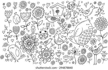 Doodle Flowers and Birds Vector Set