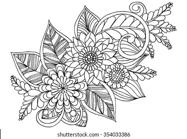 Royalty free stock illustration of classy flower border black pen doodle flowers in black and white mightylinksfo