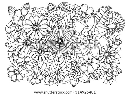 Doodle Flowers Coloring Page Stock Vector Royalty Free 314925401