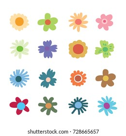 doodle flowers, colour Flower,drawing Flower, collection of hand drawn floral elements.
