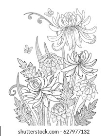 Doodle flowers growing in garden vector illustration for coloring book. Black and white floral bouquet with leaves for adult and children.